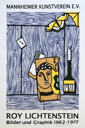 Lithograph Lichtenstein - 'Léger Head with Paintbrush' Hand Signed Exhibition Poster
