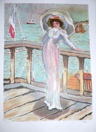 Lithograph Dilley - L'élégante sur le ponton