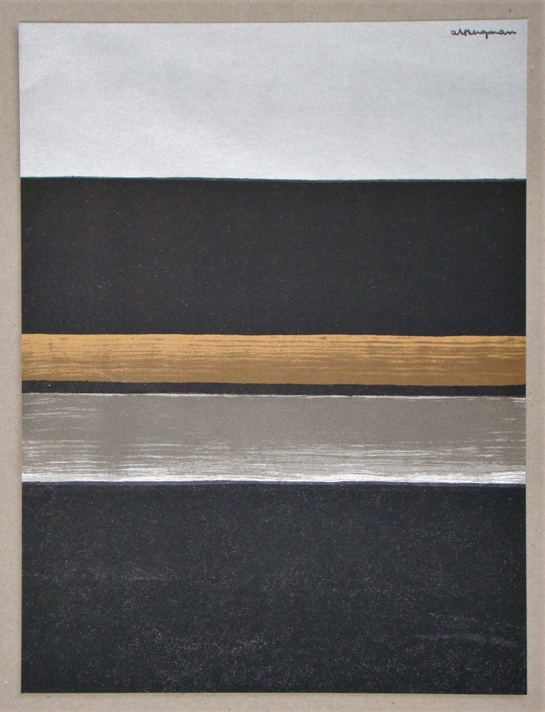 Lithograph Bergmann - L 11 - 1970 Horizon noir
