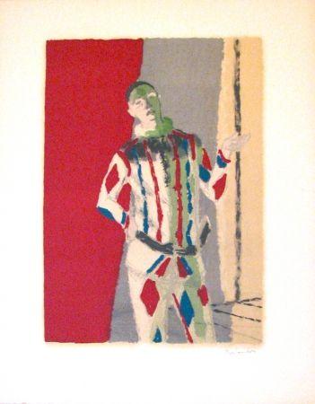 Lithograph Brianchon - L' arlequin, from Souvenirs de Portraits d'Artistes - Jacques Prévert: Le coeur à l'ouvrage