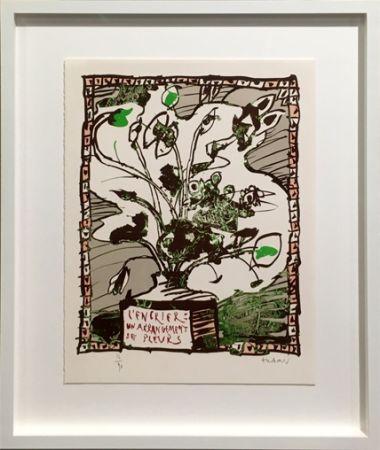 Lithograph Alechinsky - L' encrier un arrangement de fleurs