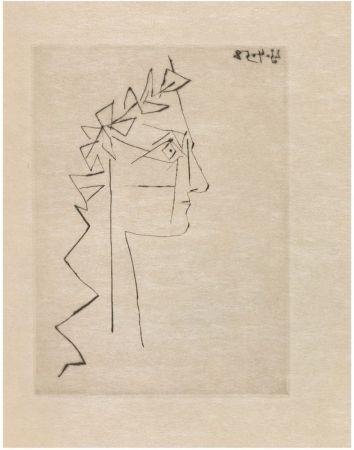 Illustrated Book Picasso - L. Scheler : SILLAGE INTANGIBLE. Poème accompagné d'une pointe sèche de Pablo Picasso (1958).