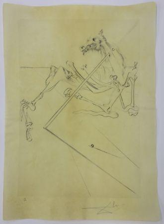 Drypoint Dali - L soler conchant allonge le squelette noir d'un grand cheval tres grand... la tête est soutien par le fer dune lance