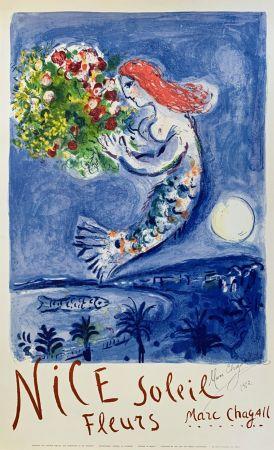 Lithograph Chagall - La Baie des Anges (Nice Soleil Fleurs)