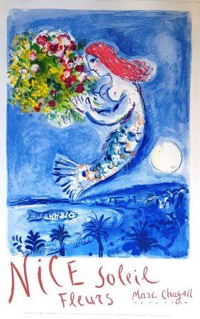Lithograph Chagall - La Baie des Anges Nice Soleil Fleurs