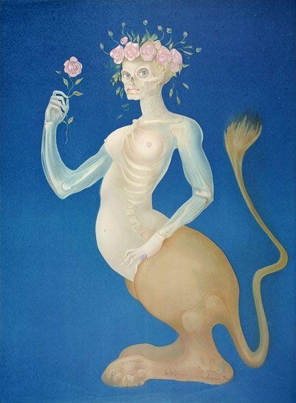 Lithograph Fini - La Beauté - Le Sphinx à la Rose