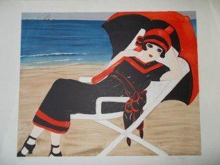 Lithograph Salomon - La belle a la plage