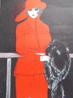 Lithograph Salomon - La belle en rouge