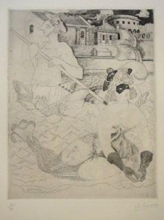 Engraving Courmes - La Belle et le triton