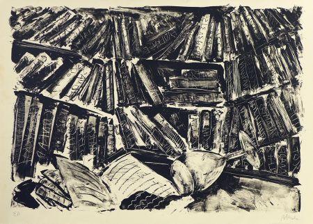 Lithograph Barcelo - La bibliothèque