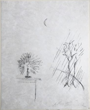 Lithograph Giacometti - LA BOUGIE (The candle). 1961. Lithographie originale signée