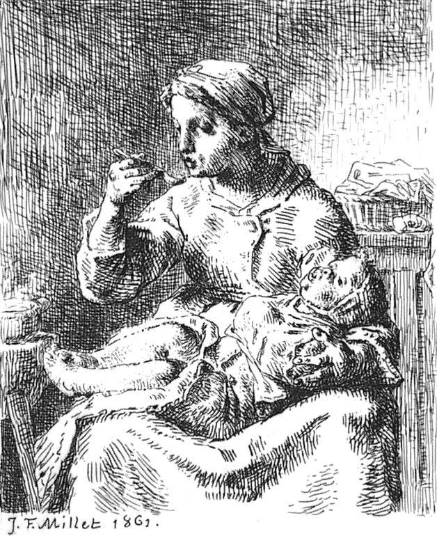 Engraving Millet - La Bouillie
