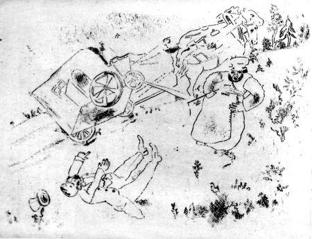 Engraving Chagall - La britchka s'est renversée