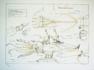Lithograph Delarozière - La Calamar À Retropropulsion