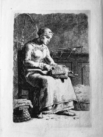 Engraving Millet - La Cardeuse