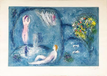 Lithograph Chagall - LA CAVERNE DES NYMPHES (Daphnis & Chloé: de la suite à grandes marges) 1961.