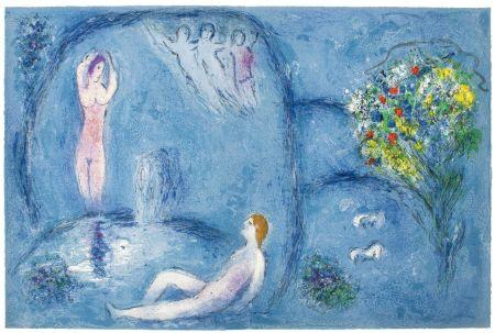 Lithograph Chagall - LA CAVERNE DES NYMPHES (de Daphnis et Chloé - 1961)