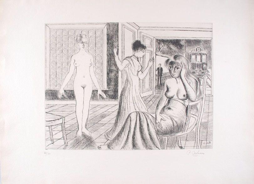 Engraving Delvaux - La Chambre