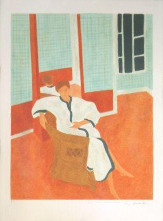 Lithograph Boncompain - La chambre a carreaux