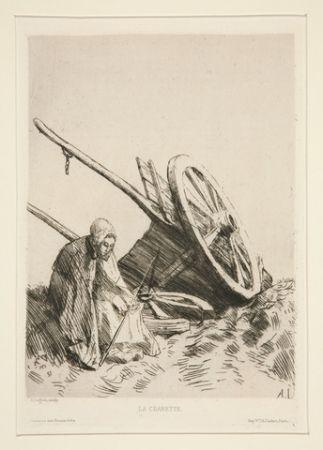 Etching Legros - La charrette brisée