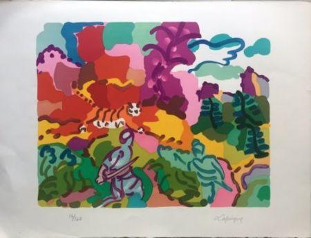 Lithograph Lapicque - La Chasse Au Tigre