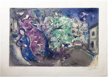 Lithograph Chagall - LA CHASSE AUX OISEAUX (The bird chase). Daphnis et Chloé. 1961