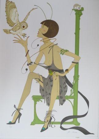 Lithograph Noyer - La chouette