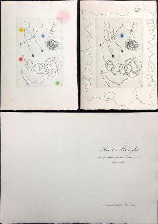 Etching And Aquatint Miró - LA CHOUETTE ET L'ESCARGOT (Maeght, Vœux pour 1964). 2 états.