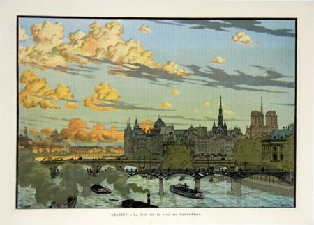 Lithograph Grasset - La Cité Vue du Pont des Saint Pères