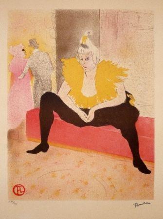 Lithograph Toulouse-Lautrec - La clownesse assise