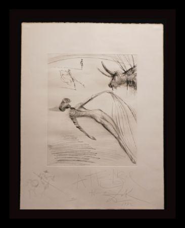 Etching Dali - La Cogida y la Muerte with Original Drawing
