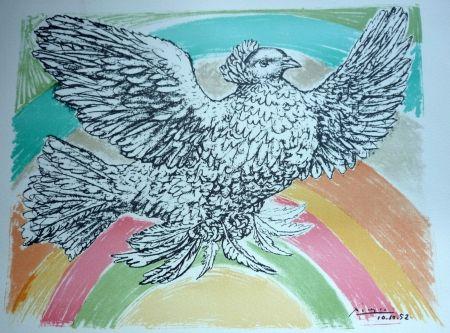 Lithograph Picasso - La comobe a  l'arc en ciel