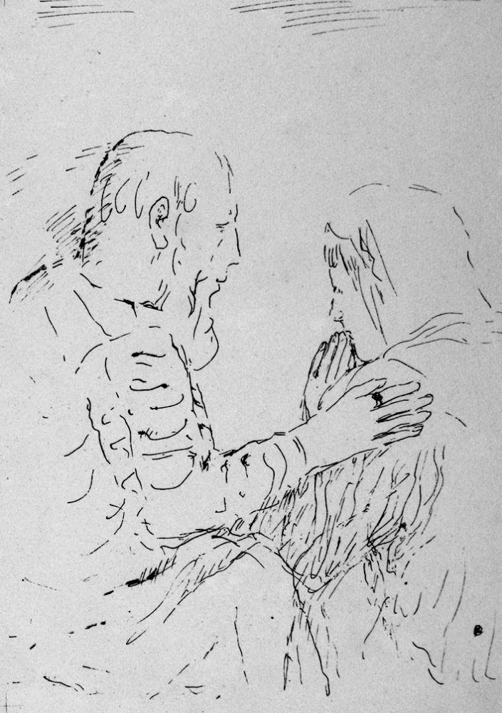 Lithograph Bonnard - La confessione