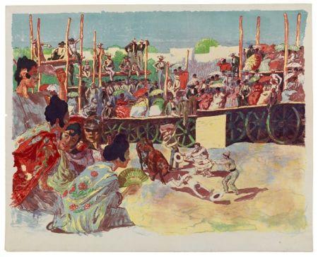 Lithograph Lunois - La Corrida:  Une corrida à la campagne (A Country Bullfight)