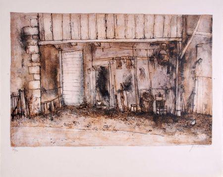 Lithograph Gantner - La Cour - Court