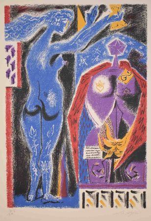 Lithograph Masson - La Couronmeny au Nu Bleu