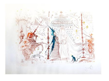 Lithograph Dali - La Dame à la Licorne