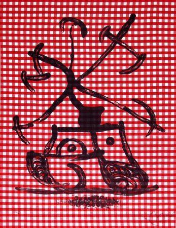 Lithograph Miró - La Dame aux damiers (Lady with Checkers), 1969