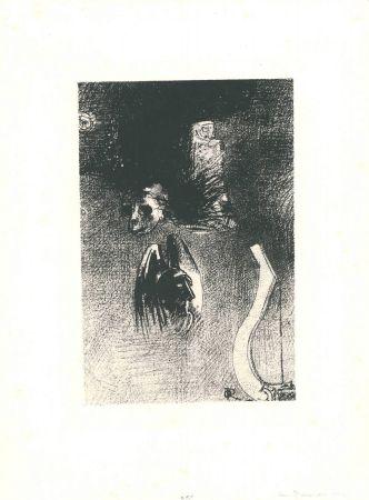 Lithograph Redon - La damnation de l'artiste