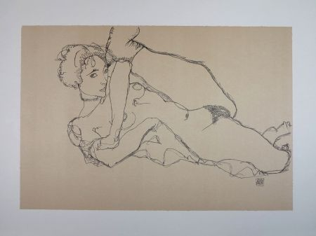 Lithograph Schiele - LA DANSEUSE NUE / THE NUDE DANCER - 1914