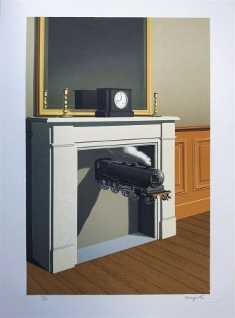 Lithograph Magritte - La durée poignardée (Time Transfixed)