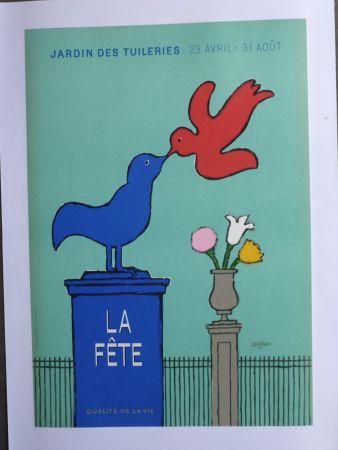 Poster Savignac - La fête au jardin des Tuileries