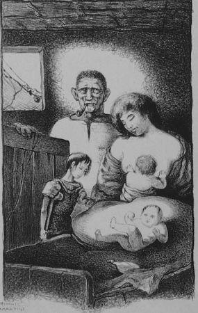 Lithograph Martini - La famiglia del pescatore