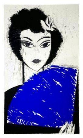 Etching And Aquatint Valdés - La Femme à l'éventail