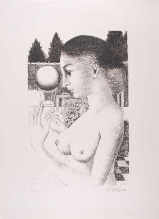 Lithograph Delvaux - La Femme à la Boule