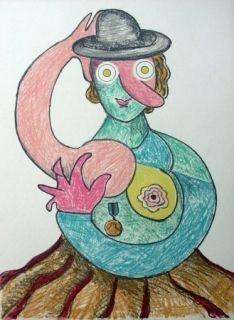 Lithograph Baj - La femme au chapeau