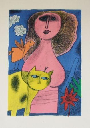 Lithograph Corneille - La femme au chat jaune