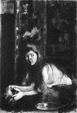 Engraving Besnard - La femme au vase