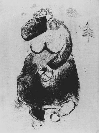Engraving Chagall - La femme moineau