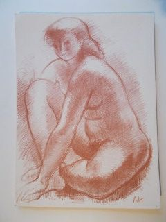 Lithograph Volti - La femme nue assise